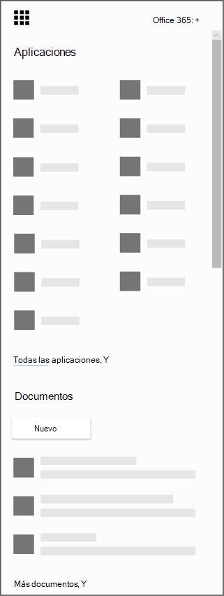 El iniciador de aplicaciones de Office 365