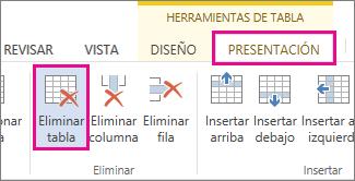 Imagen del botón Eliminar disponible en la pestaña Diseño en la cinta de opciones Herramientas.