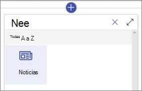 El elemento Web noticias en el cuadro de herramientas del elemento Web