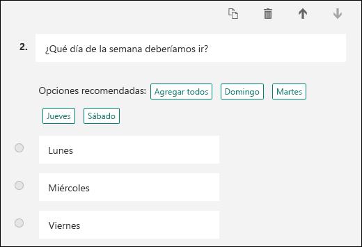 Selección de opciones de respuesta sugeridas para una pregunta