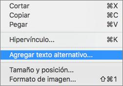 Menú contextual que aparece al agregar texto alternativo a una imagen en Outlook