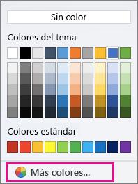 Opciones de color de sombreado con la opción Más color resaltada.