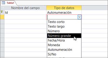 Una lista de tipos de datos con Número grande resaltado