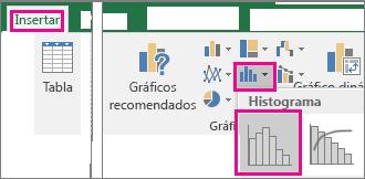 Comando Histograma al que se ha accedido desde el botón Insertar gráfico de estadísticas