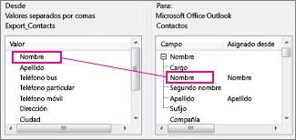 Asignación de una columna de Excel a un campo de contacto de Outlook