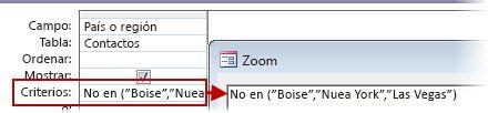 """Para mostrar todos los contactos que no sean del Reino Unido, EE.UU. o Francia, use el criterio No de (""""Text"""", """"Text"""", """"Text""""…)"""
