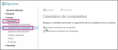 Activar el Calendario de cumpleaños