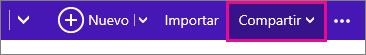 Outlook.com: hacer clic en Compartir para elegir un calendario