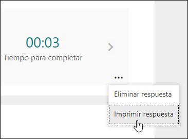 Opción de respuesta de impresión en Microsoft Forms