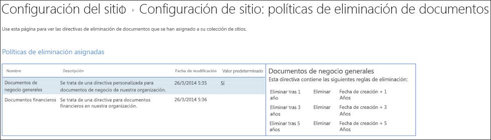 Vista de directivas de eliminación de documentos asignados a una colección de sitios