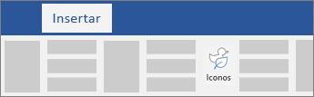 Opción para insertar iconos en la cinta de opciones