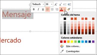 Cambiar el color del texto