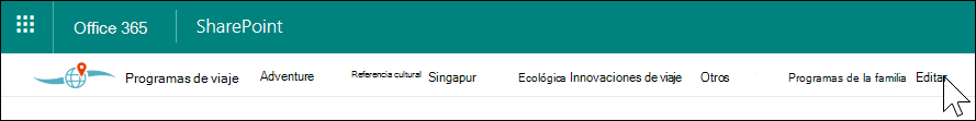 Navegación del Hub de SharePoint