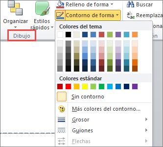 Menú de esquema de forma de cuadro de texto de PowerPoint 2010