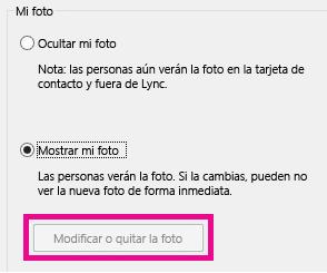 Captura de pantalla de la sección superior de Establecer opciones de mi foto con el botón Editar o quitar imagen atenuado