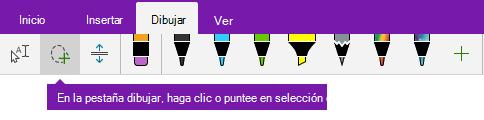 El botón selección de lazo en la pestaña dibujar