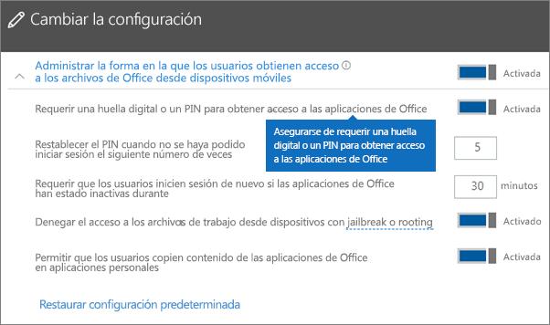 Asegúrese de que la opción de requerir una huella digital o un PIN para obtener acceso a las aplicaciones de Office esté establecida en Activado.