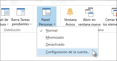 En la pestaña Ver, haga clic en Panel de personas y, a continuación, haga clic en Configuración de la cuenta