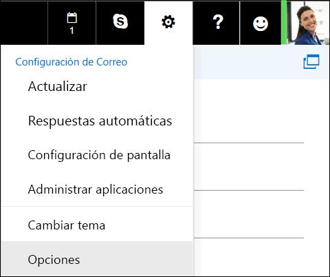 Opciones de configuración de Outlook en la web