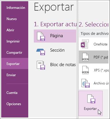 Captura de pantalla que muestra cómo exportar una página de notas en OneNote 2016.