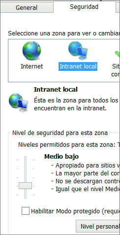 Zona de intranet local