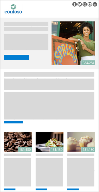 Una plantilla de boletín de 4 imágenes en Outlook
