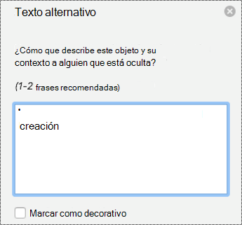 Panel de texto alternativo para las imágenes en PowerPoint para Mac en Office 365.