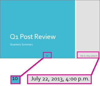 Agregar la fecha, la hora y números de diapositiva