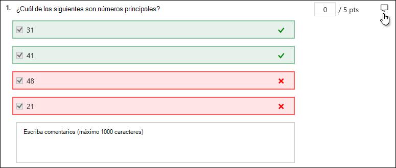 Escribir comentarios para la respuesta a una pregunta en particular
