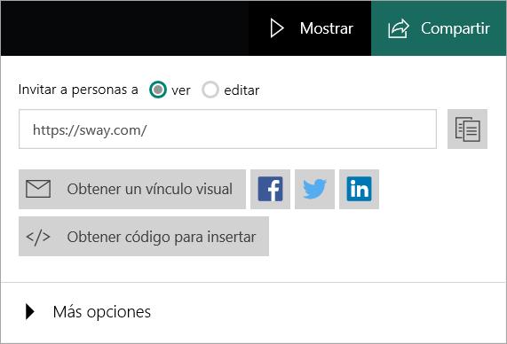 Menú de Sway para su cuenta Microsoft