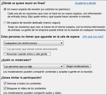 Captura de pantalla de las opciones de reunión con opciones seleccionadas para una gran audiencia