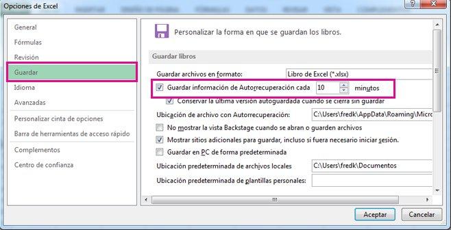 Opción de Guardar en Opciones de Excel