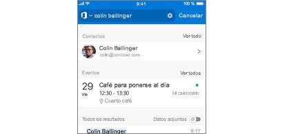 Calendario de Outlook Mobile con reuniones en resultados de la búsqueda
