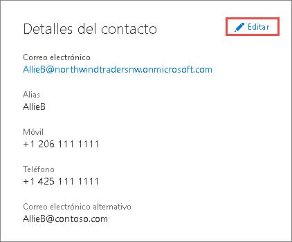Usar los detalles de contacto para actualizar la información de administrador
