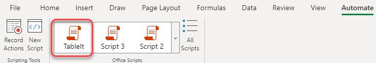 Office Galería de scripts