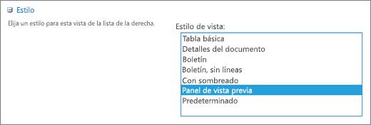 Opciones de estilos en la página Ver configuración