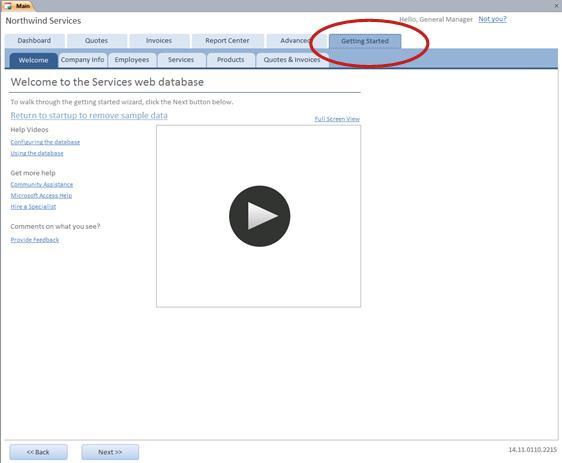 Pestaña Introducción de la plantilla de base de datos web Servicios