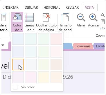 Use el botón Color de página para cambiar el color de fondo de una página.