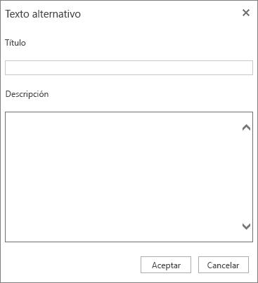 Captura de pantalla del diálogo Texto alternativo con los campos Título y Descripción.