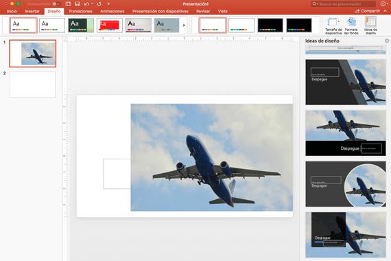 Cuando selecciona una idea de diseño, esta se muestra inmediatamente a tamaño completo en la diapositiva.