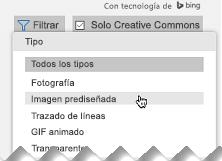 Abra el filtro y, en Tipo, seleccione Imágenes Imágenes prediseñadas.