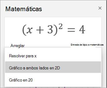 Gráfico de 2D opción en el panel de matemáticas