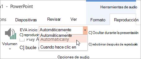 Seleccionar una opción de inicio en la pestaña reproducción de herramientas de Audio