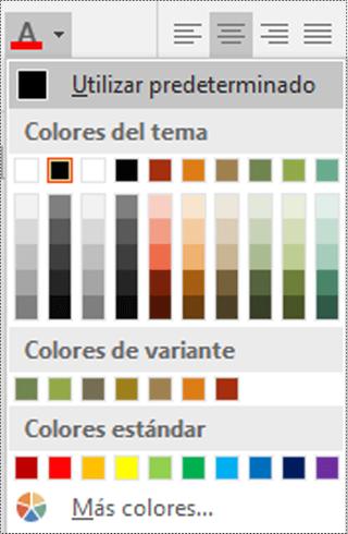 Menú Color de fuente en Visio.