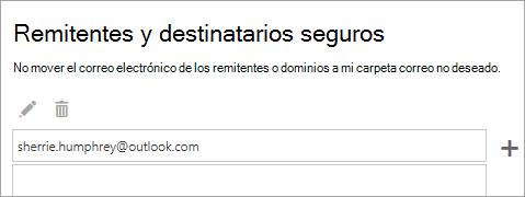 Captura de pantalla del cuadro de los remitentes y destinatarios seguros
