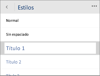 Captura de pantalla del menú Estilos en Word Mobile con la opción Título 1 seleccionada.