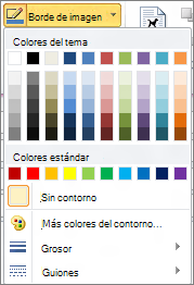 Menú de bordes de imagen de Outlook 2010