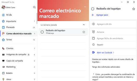 Captura de pantalla que muestra la lista de correos electrónicos marcados seleccionada con el diseño del logotipo de la tarea abierto. La opción para abrir en Outlook se encuentra en la vista de detalles de la tarea, junto con una vista previa del texto de correo electrónico.