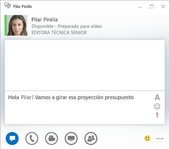 Captura de pantalla de una ventana de conversación de MI