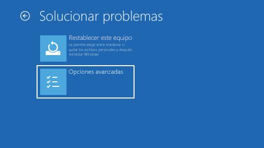 Pantalla de solución de problemas en el Entorno de recuperación de Windows.